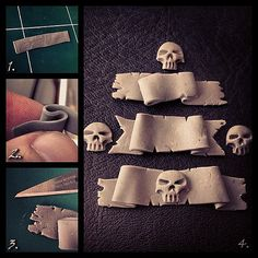 """How to quickly make little clay banners. 1. Make a thin strip of polymer clay (SuperSculpey, Fimo...). You can use a roll or a bottle to do so. 2. Give both sides a sort of """"S"""" shaped wave. 3. Tear the edges to give the """"paper"""" a worn look. 4. Now you hav"""