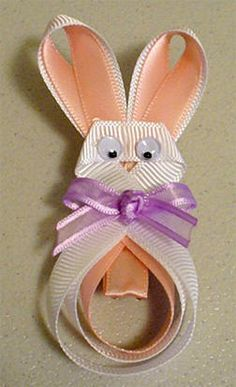 bow tutorial, hair tutorials, ribbon hair bows tutorial, hair clips, hair bow making tutorials, easter bunni, easter bunny, ribbon sculpture, bunny ribbon crafts