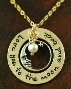 Love You To The Moon and Back Mixed Metal Loop