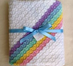 Crocheted Baby Afghan with Rainbow Stripes