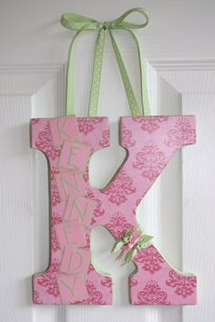 Custom Wall Letter Pink Damask by inspiremecrafts on Etsy