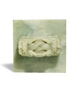 A large imperial celadon jade seal of Empress Dowager Cixi (1835-1908), Qing Dynasty.
