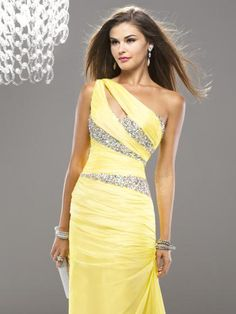 New Arrival Elegant Womens Evening Gowns one Shoulder Beading Yellow Chiffon Prom Dresses Long On Sale