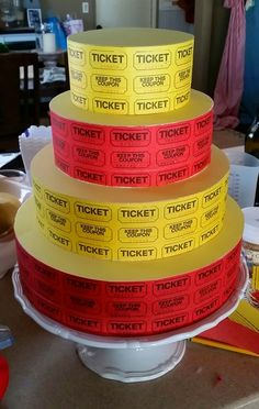 ticket cake, smash cakes, birthday parties, circus birthday, cake stands