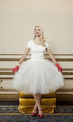 White Tulle Knee Length Skirt