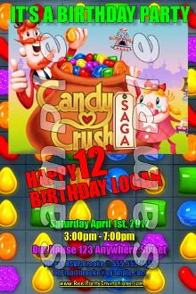 CANDY CRUSH 4X6 INVITATIONS WITH ENVELOPES