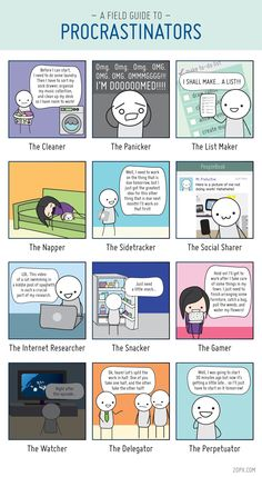 The 12 Types of Procrastinators - Procrastination is the prelude to productivity! There are many types of procrastinators that are out there and here are just some.  Comic illustration by Angela Liao, 20px.