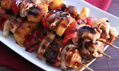 Nothing beats a sizzling skewer off the grill slathered with a luscious finger-lickin' sauce. Teriyaki Pineapple Chicken Kabobs are fast and easy.