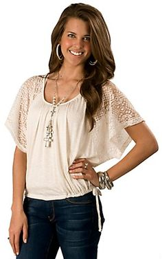 Wrangler Ladies Cream Tie Front with Lace Short Sleeves Fashion Top