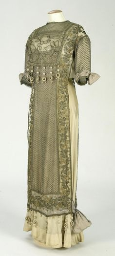 Dress: ca. 1910-1919, silk, embroidered tulle, metallic lace.