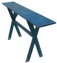 Eastern Shore Maryland saw buck side Table, with wonderful blue paint, one board top all original great display table