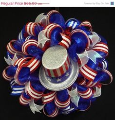 PATRIOTIC SALE 4th of July, RWB Memorial or Labor Day Wreath, Veterans Day, Rwb, Poly Mesh Wreath, Deco Mesh @Ariel Jokai   I need this maybe with out the hat.