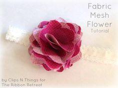 Fabric Mesh Flower Tutorial - Add to a clip, headband, etc. Easy and cute! {The Ribbon Retreat Blog}