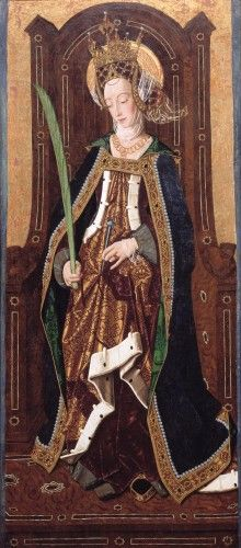 Saint Engracia, c.1474, Bartolomé Bermejo; the saint holds her symbolic attributes, a crown, a nail and a martyr's palm. (Isabella Stewart Gardner Museum)