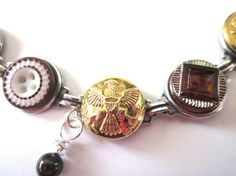 WEST POINT, ARMY antique button bracelet. 1800s buttons, silver links. Show support for your soldier, cadet!