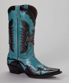 Another great find on #zulily! Pecos Bill Turquoise & Black Cowboy Boot - Women by Pecos Bill #zulilyfinds