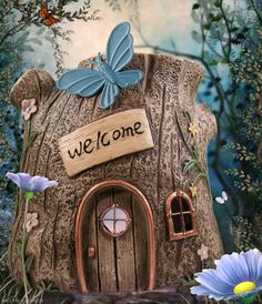 Tree Fairy House in the fairy garden