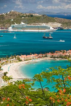 Cruise ship in St. Maarten This is for me. I want to be on that ship at St. Maarten one day!