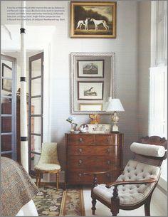 animals, vignett, chairs, art, dressers, high ceilings, grey, light, decor idea