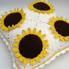 Crochet sunflowers cushion