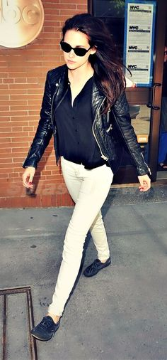 white jeans + leather jacket