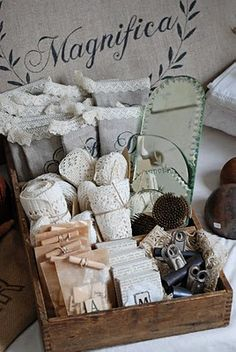 #Vintage #sewing and #packing #supplies #crate