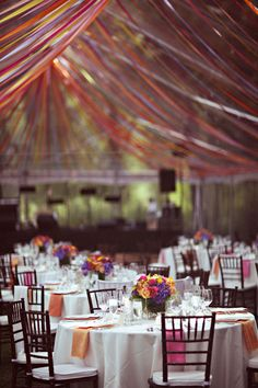 ribbon canopy in a tent or marquee