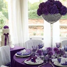 wedding tables, table settings, table decorations, wedding receptions, wedding decorations, purple flowers, reception ideas, purple wedding, wedding centerpieces