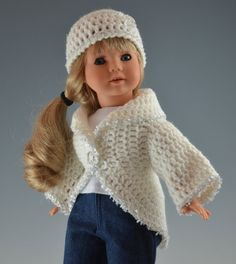 American Girl Doll Hat & Sweater Set in white with diamond trim. $19.00, via Etsy.