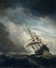 """When I read Act 1, scene 1 of The Tempest, this is what I envisioned. This painting entitled """"De Windstoot"""" was done by Willem van de Velde II in 1707. The contrast in color is important as it goes from dark on the top to light in the middle, and dark on the bottom again."""