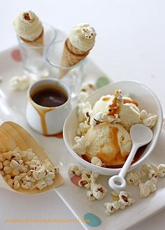 Popcorn Ice Cream with Salted Butter Caramel Sauce