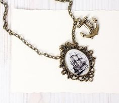 Pirate Ship Necklace - For traveler - Pirate Jewelry - Free Shipping