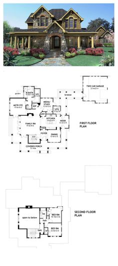 Tuscan House Plan 75106 | Total Living Area: 2552 sq. ft., 3 bedrooms & 2.5 bathrooms. #tuscanstyle #houseplan