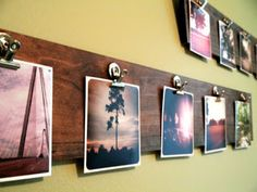 Build a wooden photo display.   21 Ways To Bring Your Instagram Photos To Life, love this! @Caitlyn Battle good idea for the kitchen / addis craft area! she can hang up colorings & pics!