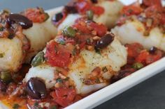 Pan Roasted Cod with Puttanesca - The robust flavors of classic puttanesca sauce—garlic, anchovy, tomato, olives and parsley—have found their perfect mate in pan roasted cod. Anolon.com