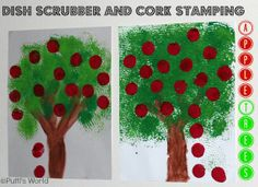 Apple trees - printing with common household objects