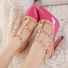 Rose Pink Rivet Design Pointed Toe High Heel Fashion Shoes