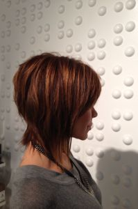 new textured haircut, side view