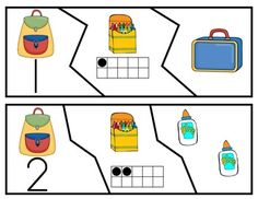 Number Match-Up Puzzles. 5 sets of puzzles for #'s 1-10