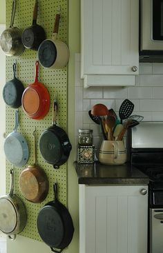 I just have to choose my wall. I am sick of my great quality pans being at risk of scratching when I am in a rush to pull them out of the cupboard. even if I just put the main ones on a pegboard, and left the wok and the square roaster etc in th cupboard? thinking in print