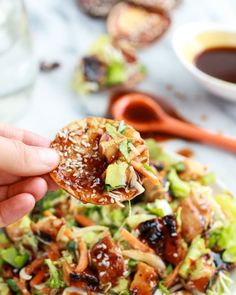 Chopped Asian BBQ Chicken Salad with Honey-Sesame Crackers - Half Baked Harvest