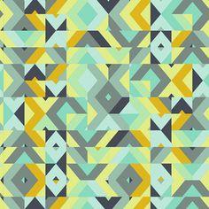URBAN MOD Cubisme Verdigris (UR-70017) - Patricia Bravo - Art Gallery Fabrics - 1 Yard   Explore the streets of the downtown art scene where style