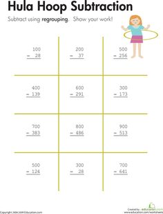 Worksheets: Hula Hoop: Three-Digit Subtraction with Regrouping