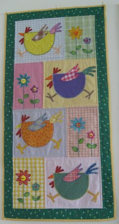 Cute chicken quilted wall hanging