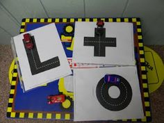 Highway ABC Cards- print them from Making Learning Fun- add toy cars!