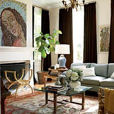 Dark drapes looking very classy on light walls | SouthernLiving.com