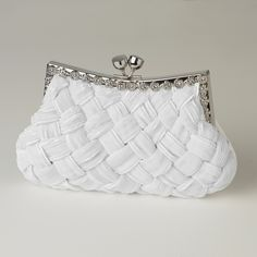 Satin Weave Evening Bag with Crystal Frame in White, Cream, Black or Silver $48.98