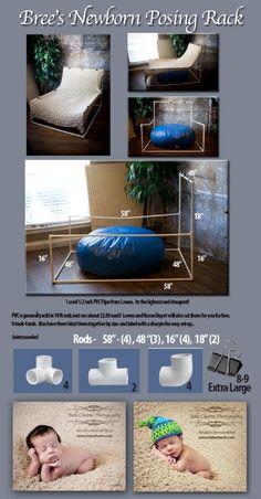 Newborn blanket stand tutorial!  Perfect stand for under twenty dollars in materials.