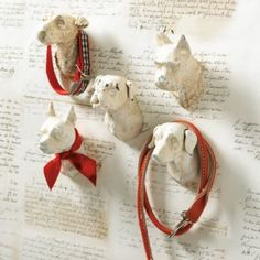 Dog Head Hooks | Ballard Designs    Great leash holders.