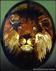 "Fabulous lion in stained glass. ""King of Beasts"" Private collection."